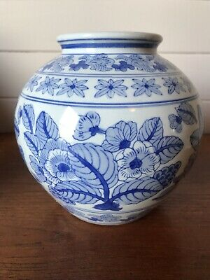 Vintage Large Round Chinese Blue and White Vase Marked To Base