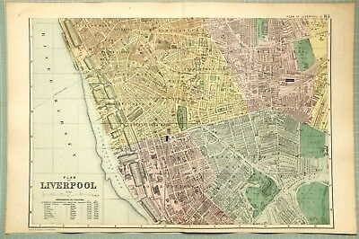 1895 Map Liverpool Plan South Docks Stations Lime Street Ward Water Works Parks