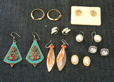 8 Vintage Earrings Rolled Gold Germany Faux Pearl Shell Hook Post & Clip #13