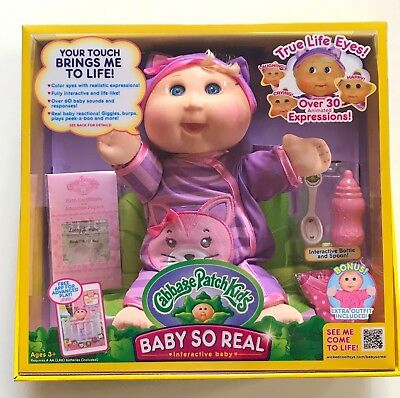 Cabbage Patch Kids Baby So Real Blonde Hair 14 inch *30 expressions *60 sounds