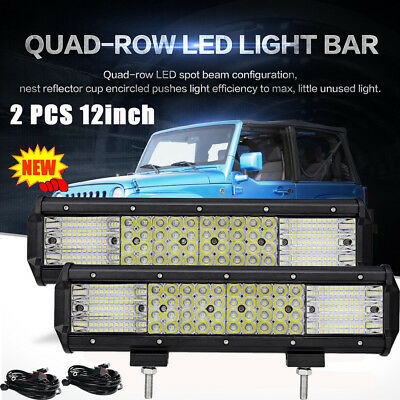 """2Pcs 12inch Quad Rows LED Work Light Bar Combo Driving Offroad Truck 12""""+Wire AU"""