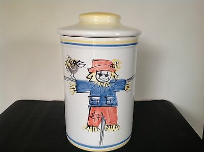 Large Hanstan Studio Hand Painted Scarecrow Vintage Canister