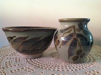 Bjorn Schie Signed Gum Leaf, Gum Nut Design Pottery Vase & Bowl.
