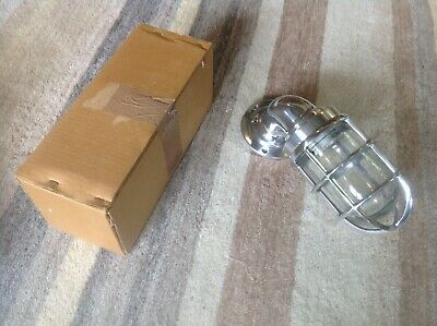 Vintage Industrial Bulkhead Wall Light Caged Chrome. New Unused X2 A Pair