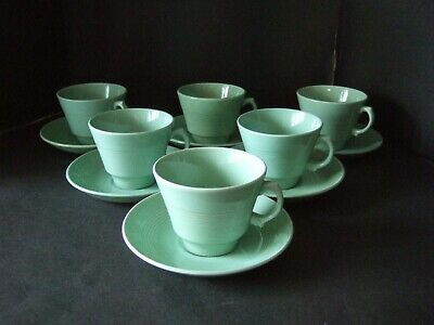 Vintage Retro Utility  Woods Ware Beryl Green Tea Cups & Saucers  x 6