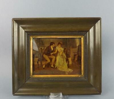 Antique Victorian Cristoleum Picture with Romantic Scene in Wooden Frame.