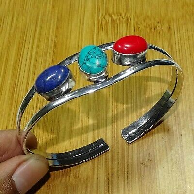925 Silver Plated Turquoise, Coral, Lapis Lazuli Stone Bangle Cuff Bracelet