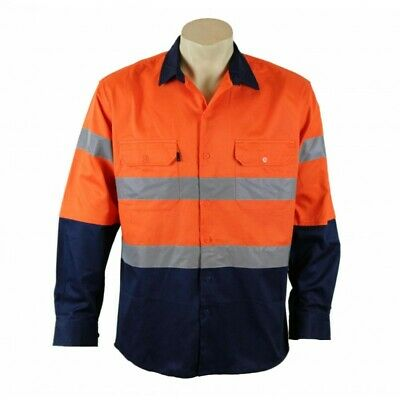 Hi Vis Safety Work Wear Cotton Drill Shirt Reflective Vents