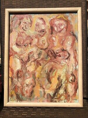 20th century Antique abstract oil panting of 3 nude women signed framed