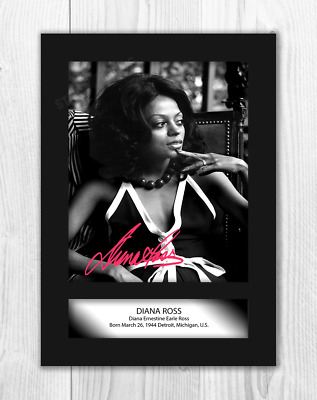 Black Frame 297 x 210mm DIANA ROSS Signed Autograph Mounted Photo Reproduction PRINT A4 Very Rare #665