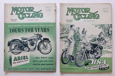 2 x Motor Cycling Magazine: May & Oct 1952, Spanish GP, French Motorcycle Show..