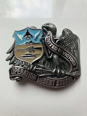 Vintage 1991 Operation Desert Storm United In Victory Belt Buckle Made In USA