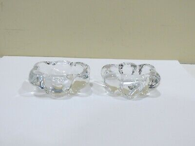 A Pair of Vintage French Daum Crystal Salt and Pepper Cellars, Signed