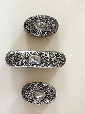 Three Antique Sterling Silver Ornate Floral Repousse Vanity Brushes