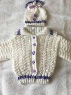 New Lovely Hand knitted baby  girls cardigan And Hat Set In White And Lilac