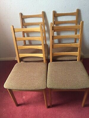 4 VINTAGE Beech Ladder Back DINING  CHAIRS