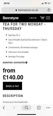 Bannatyne spa voucher with afternoon tea for 2 plus £5 voucher included