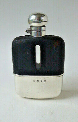 English Sterling Silver & Leather/glass Hip Flask