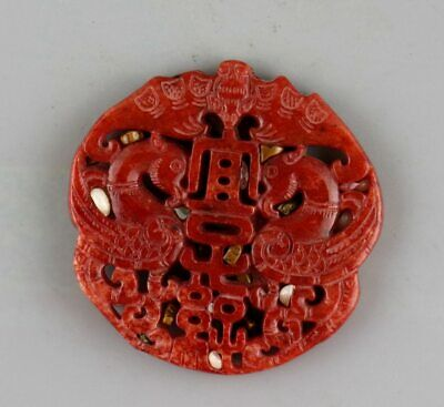 Collect China Antique Red Jade Hand Carve Double Phenix Moral Auspicious Pendant