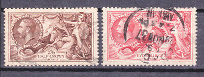 1934 RE-ENGRAVED SEAHORSES 2s6d BROWN AND 5s RED GEORGE V CAT £125 LOT029