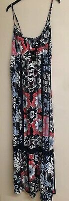 NEXT Navy Blue Coral Floral Print Summer Dress Size 12 BNWT New Holiday