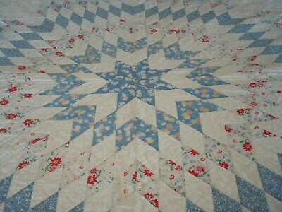 Vintage Lone Star Quilt Blue on White