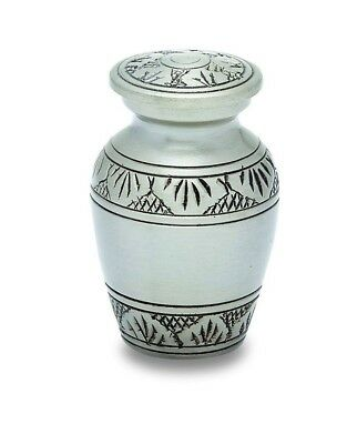 Dignity Pewter Color Keepsake Funeral Cremation Urn For Ashes, 3 Cubic Inches