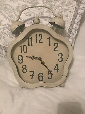 Cream Vintage Shabby Chic Style Stand Up Table Mantle Clock