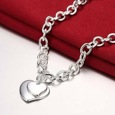 Fashion 925Sterling Solid Silver Women Jewelry 2Heart Chain Charms Necklace N252