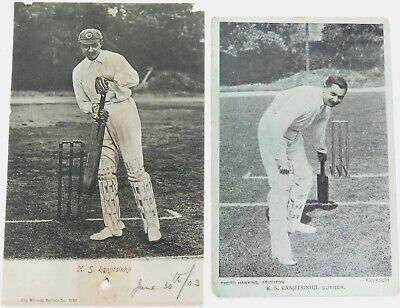 CRICKET. c1903 2 POSTCARDS. K S RANJITSINHJI, SUSSEX & ENGLAND.