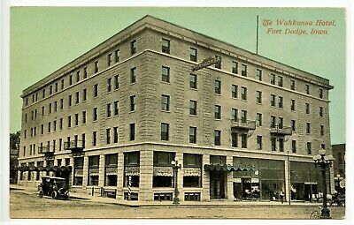 Vintage Rare, WAHKONSA HOTEL, FORT DODGE, IOWA, Historic, Old Cars, Signage