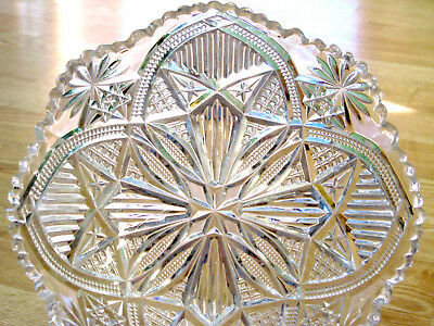 EAPG antique LONE STAR glass SERVING BOWL McKee & Bros 1898 Squat Pineapple