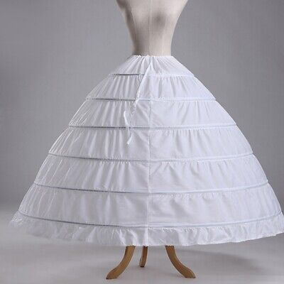 350345059808 6 Hoops Petticoats Bustle Ball Gown Wedding Dress Underskirt Bridal  Crinoline