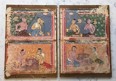 Antique Set 4 Persian Or Mughal India Indian Illuminated Manuscript Art Painting