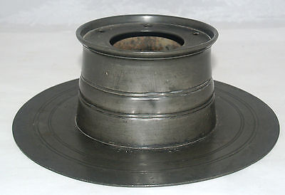 Antique Large Pewter Inkwell Desk Top Ink Stand