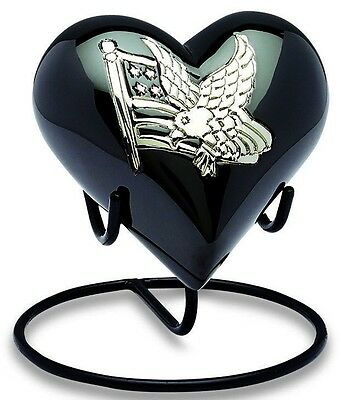 American Flag 3 Cubic Inches Heart Keepsake Funeral Cremation Urn For Ashes