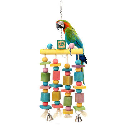 Colorful Parrot Pet Bird Macaw Hanging Chew Toy Bells Wood Blocks Swing Toy #C