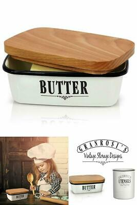 Vintage Butter Dish Enamel Butter keeper Container With Versatile Wooden Lid New