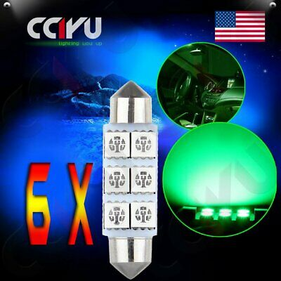 6x USA Ultra Green 6SMD 5050 LED Festoon Map Dome Interior Lights Bulbs 42MM