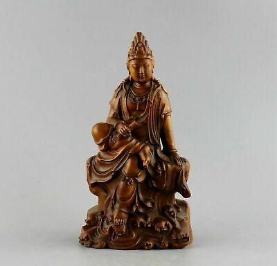 Collectable China Antique Boxwood Hand Carve GuanYin Moral Lucky Buddhism Statue