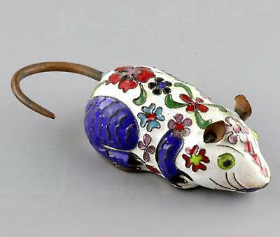 Collect Antique Cloisonne Hand Carve Lovely Mouse Delicate Interesting Statue
