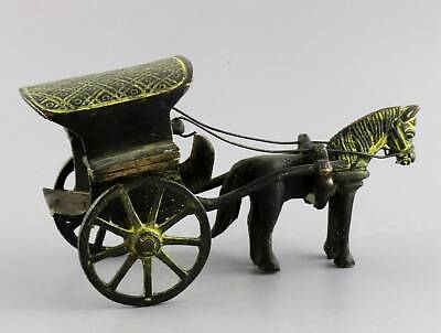 Collectable Antique Bronze Hand Carve China Qin Dynasty Chariot Precious Statue