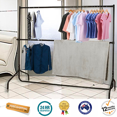 180cm Mobile Clothes Display Double Rail Hanger Garment Display Stand On Wheels
