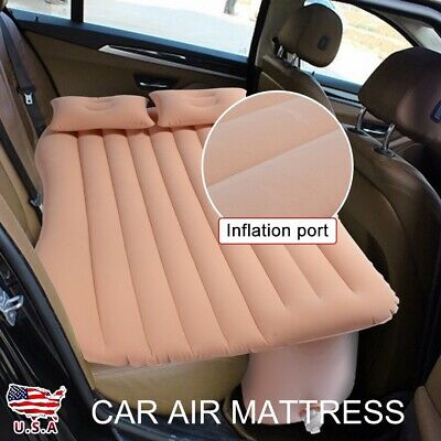 Inflatable Travel Car Air Mattress Bed Back Seat Sleep Rest Mat With Pump