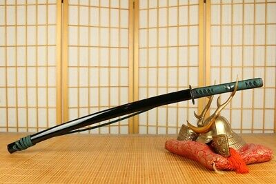 Tenku Hawk Steel Samurai Sword Katana Hamon Green
