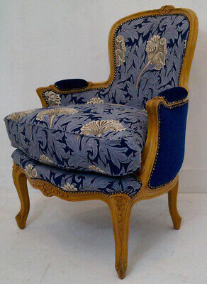 Vintage French Louis XV Bergere Armchair in Wm Morris 'Tulip' / Royal Velvet