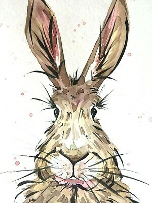 """New Watercolor hare original 4""""x6"""" animal painting abstract rabbit"""