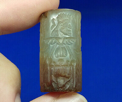 Beautiful Near Eastern Agate Intaglio Ritual Rolling Seal Stamp Tube Bead BCD25