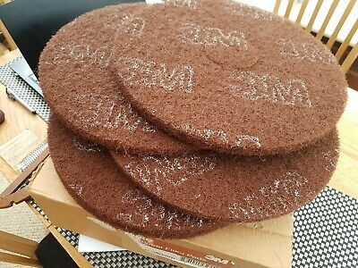 3M scrubbing pads 5 pieces  15 inch 381 mm,  for floor scrubber dryer - brown