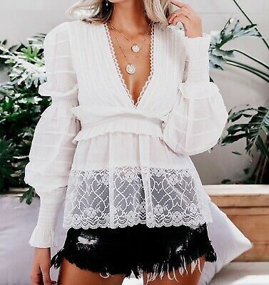 V Neck Bishop Sleeve Contrast Lace Ruffle Elegant Sexy Top Blouse Casual Party